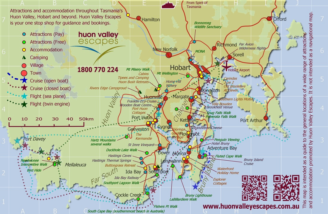 Map Of Southern Tasmania Accommodation Attractions And - Hobart map